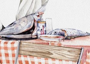 Detalle con los pescados, lata y plato sobre el mantel de la mesa de la acuarela.