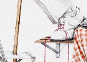 Detalle de la acuarela del zapato con los gordones desabrochado