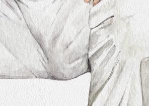 Detalle de la acuarela de entre piernas del hombre con pantalon blanco