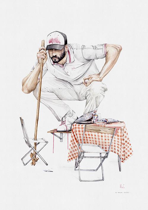 Hombre sobre estanderia arodillado haciendo postura de golfero de la acuarela