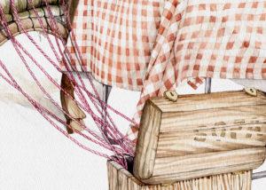 Detalle de acuarela con caja de madera saliendo multiples gordones