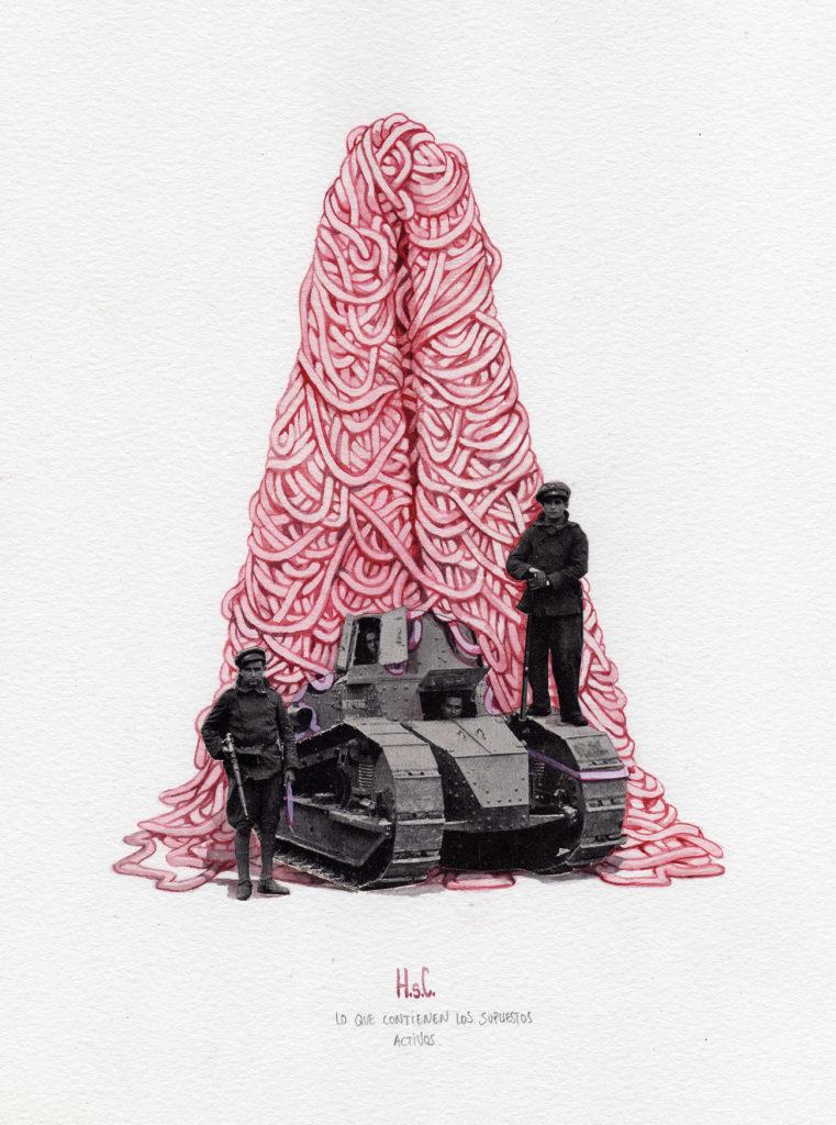 Collage Acuarela soldados de una guerra antigua con tanque a pie de una piramide de gordon rosa