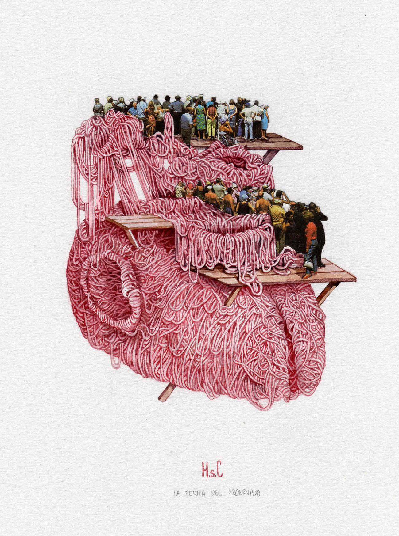 Collage - Acuarela. Personas en plataformas sobre un celebro formado por gordones rosa