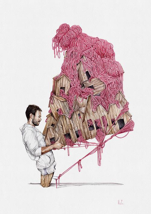 Acuarela de hombre sujetando edificio de madera meidio envuelto y sujeto con gordones rosa