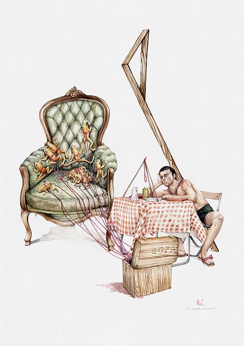 Acuarela con ranas subiendo sillon sujetas a gordones que salen de caja con hombre pensador sentado